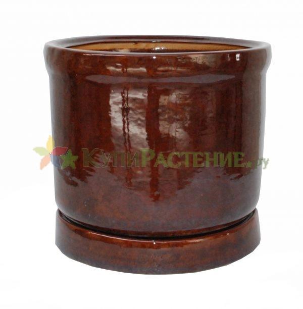 Керамический горшок цилиндрической формы. brown
