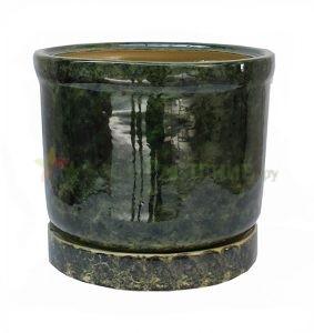 Керамический горшок цилиндрической формы. green