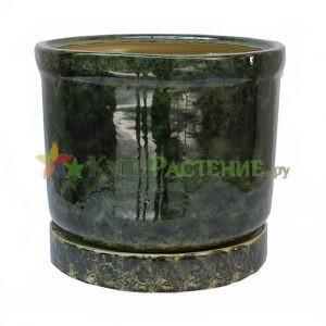 Керамический горшок зеленый Цилиндр